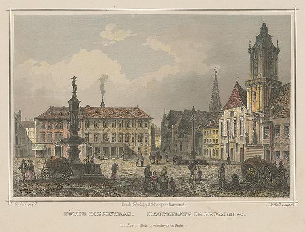 Joseph Maximilian Kolb, Ludwig Rohbock - Pohľad na Hlavné námestie a kostol jezuitov v Bratislave