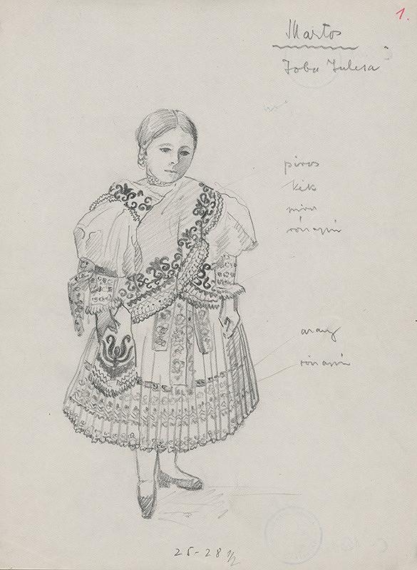 Maďarský grafik z 20. storočia – Dievča v kroji z južného Slovenska