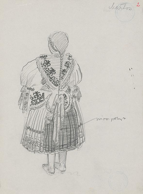 Maďarský grafik z 20. storočia - Dievča v kroji