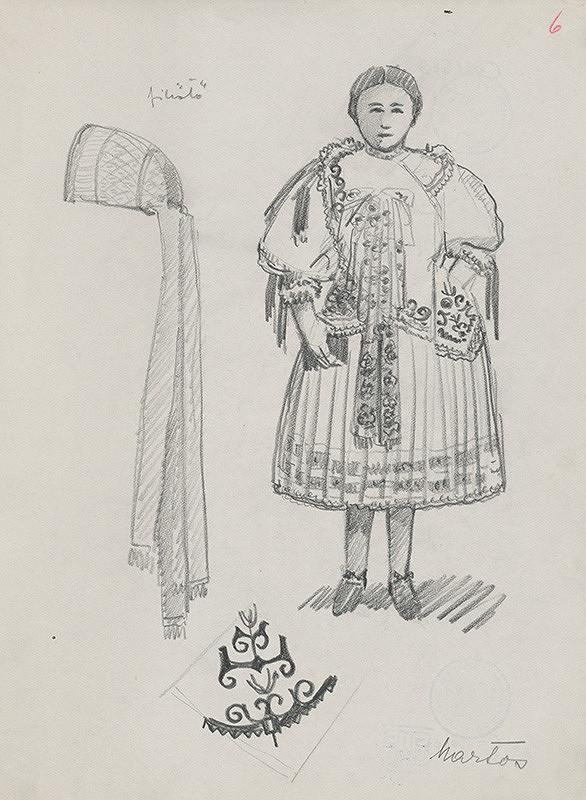 Maďarský grafik z 20. storočia – Dievča v kroji a príslušné ozdoby