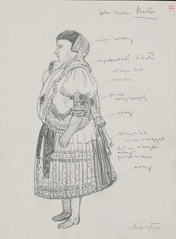 Maďarský grafik z 20. storočia - Žena v kroji