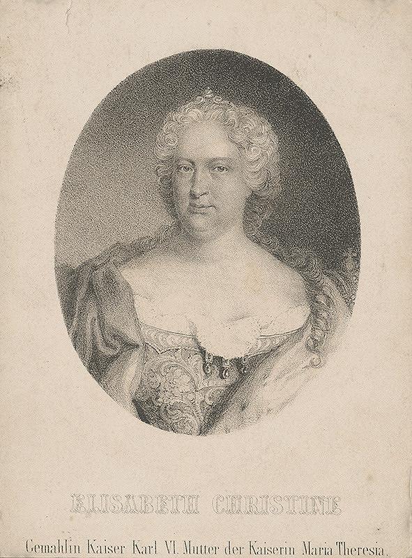 Stredoeurópsky grafik z 18. storočia - Portrét Alžbety Kristíny von Braunschweig-Wolfenbüttel (1691 - 1750)