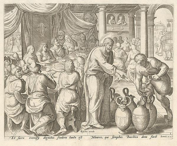 Claes Jansz. Visscher, Johan Wierix, Gerard P. Groenning - Svadba v Káne Galilejskej (Kristus premieňa vodu na víno)