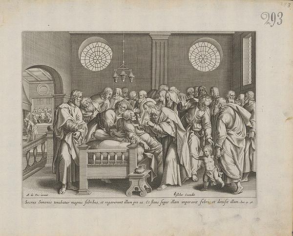 Claesz Jansz Visscher, Maarten de Vos st. - Ježiš uzdravuje Šimonovu svokru