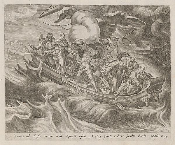Herman Müller, Gerard de Jode - Spiaci Ježiš s učeníkmi na rozbúrenom mori
