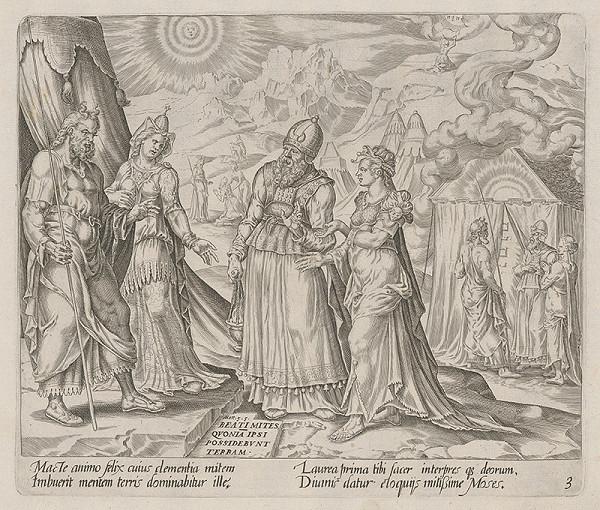 Harmen Jansz Muller, Maerten van Heemskerck - Blahoslavení krotkí, lebo oni dedičmi zeme budú. Rozhovor Miriam, Aarona a Mojžíša. (3)