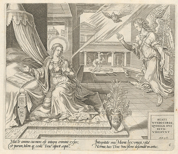 Maerten van Heemskerck, Harmen Jansz Muller, Claes Jansz. Visscher – Blahoslavení čistého srdca, lebo oni uvidia Boha. Zvestovanie Panne Márii (6)