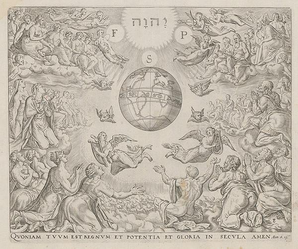 Maerten van Heemskerck, Neznámy rytec, Claesz Jansz Visscher - Štyria evanjelisti. Lebo tvoje je kráľovstvo, i moc, i sláva na veky, Amen. (8)