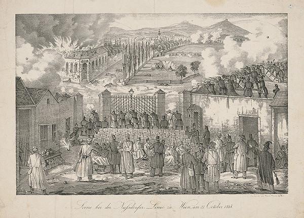 Stredoeurópsky grafik z 19. storočia – Scéna z Nusdorfskej línie vo Viedni