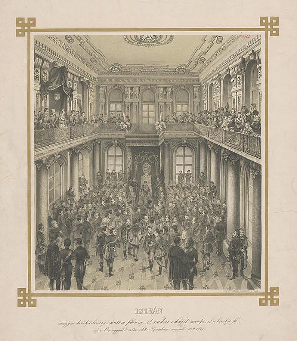 Stredoeurópsky grafik z 19. storočia – Prísaha palatína v Zrkadlovej sieni Primaciálneho paláca