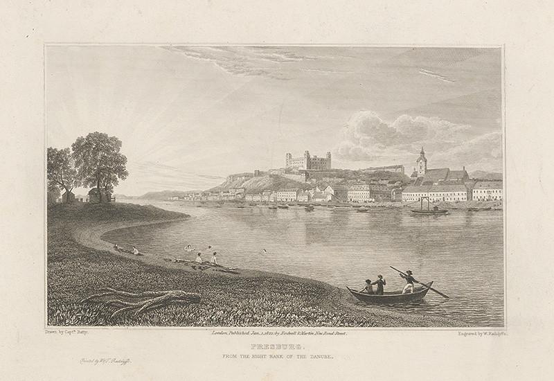 Robert Batty, William T. Radclyffe – Bratislava v 19. stor., pohľad z juhu, 1823, Galéria mesta Bratislavy