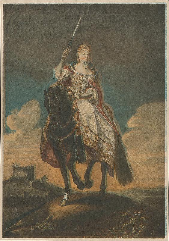 Stredoeurópsky grafik z 18. storočia – Mária Terézia na korunovačnom vŕšku