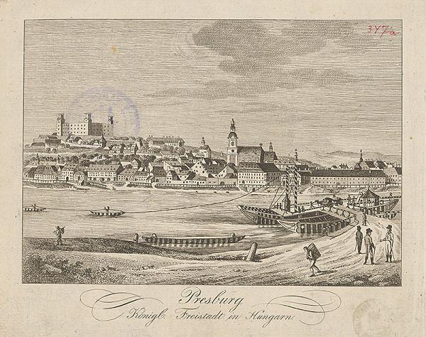 Stredoeurópsky grafik z 19. storočia - Bratislava v 19. stor. pohľad z juhu
