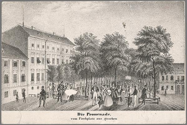 Antal József Strohmayer, Johann Höfelich, C.F. Wigand - Pohľad na bratislavskú promenádu z  Rybného námestia