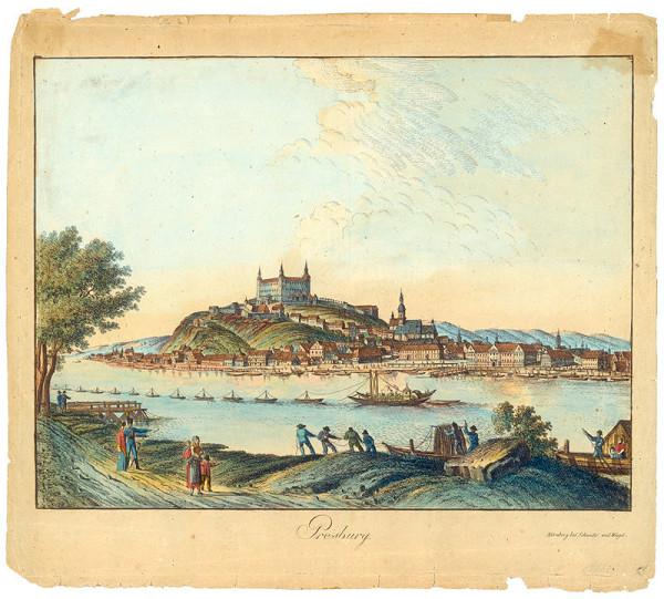 Stredoeurópsky grafik z 1. polovice 19. storočia – Pohľad na Bratislavu