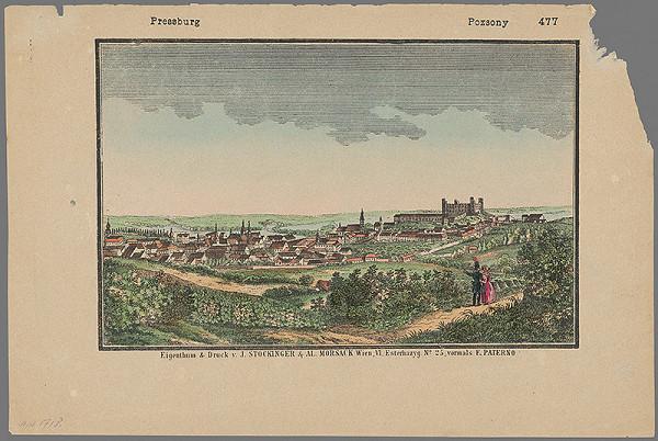 Stredoeurópsky grafik z 1. polovice 19. storočia - Bratislava zo severu