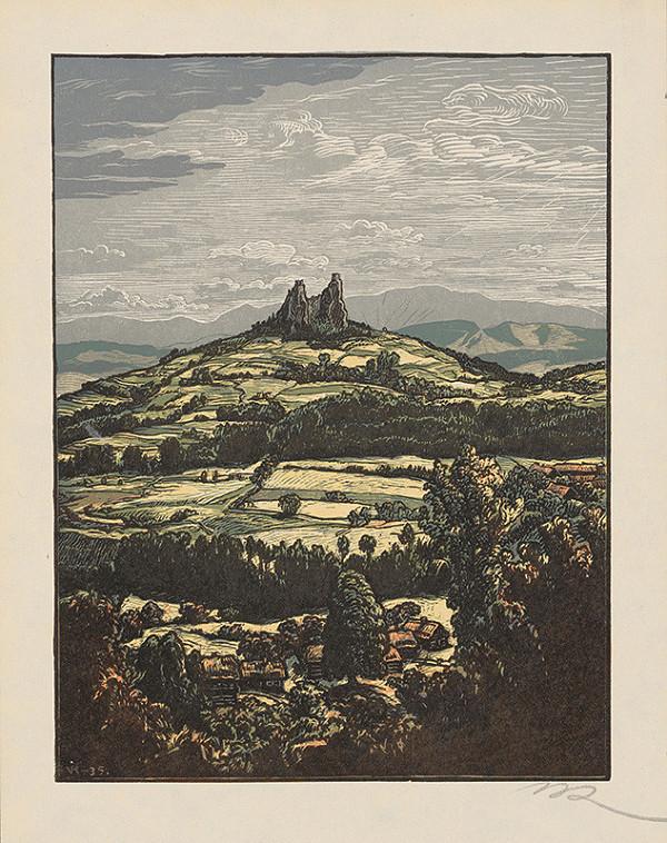Stredoeurópsky grafik z 1. polovice 20. storočia - Zrúcaniny hradu Trosky v Česku