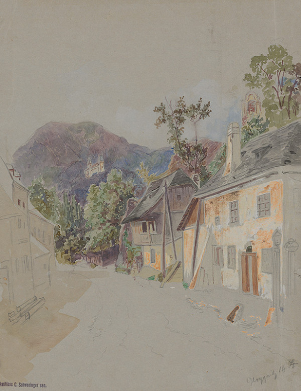 Stredoeurópsky grafik z 19. storočia - Ulička s domami