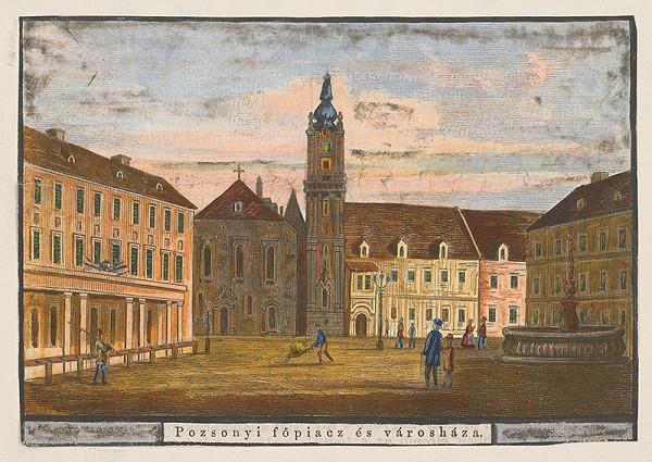 Stredoeurópsky grafik z 19. storočia – Hlavné námestie a radnica v Bratislave