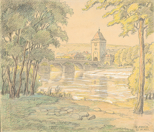 Karol Frech - Krajina s riekou a mostom