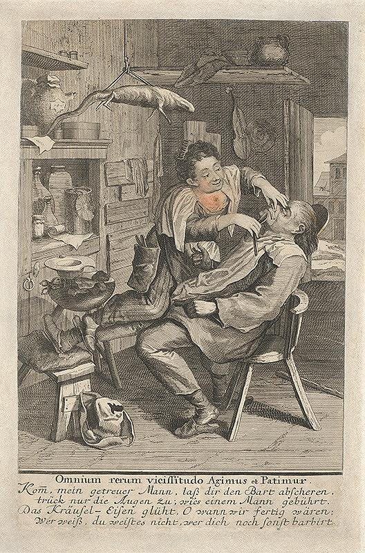 Stredoeurópsky grafik z 18. storočia - Žena holí svojho muža