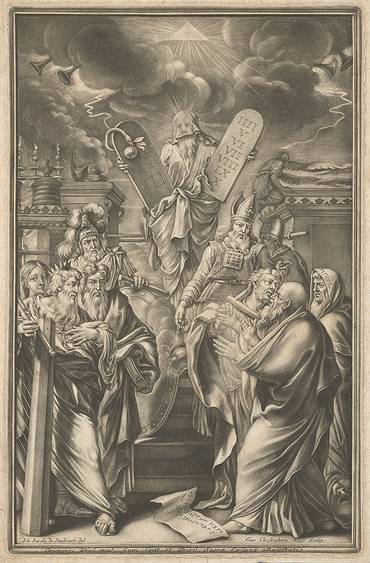 Johann Jacob von Sandrart, Elias Christoph Heiss – Mojžiš ukazuje prikázania Izraelu