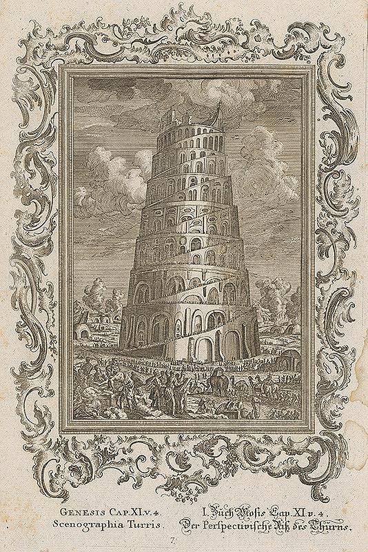 Stredoeurópsky grafik z 18. storočia - Babylonská veža