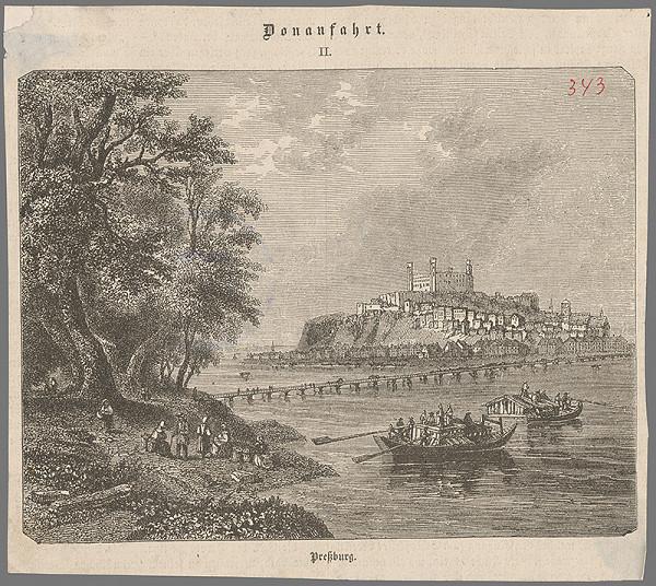 Stredoeurópsky grafik z 19. storočia - Bratislava v 19. stor. pohľad z juhovýchodu