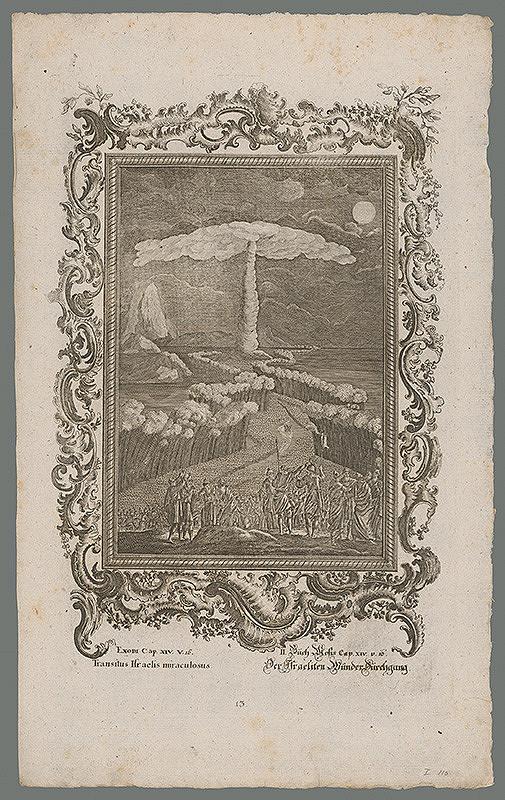 Stredoeurópsky grafik z 18. storočia - Zázračný prechod Izraelcov