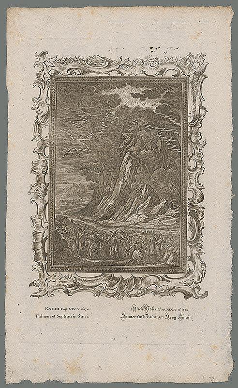 Stredoeurópsky grafik z 18. storočia – Blesk a plot na hore Sinai