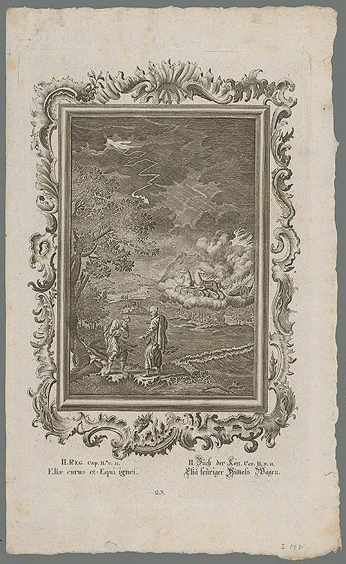 Stredoeurópsky grafik z 18. storočia – Eliáš, Elizeus a ohnivý voz