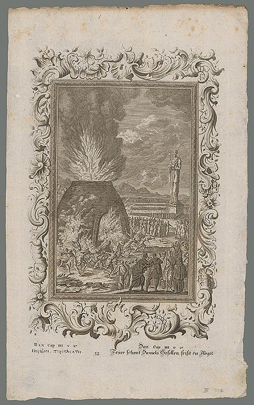 Stredoeurópsky grafik z 18. storočia – Sidrach, Mizach a Abdenágo v ohnivej peci