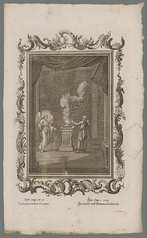 Johann Conrad Müller – Archanjel Gabriel sa zjavuje svätému Zachariášovi