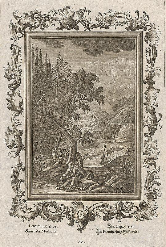 Stredoeurópsky grafik z 18. storočia - Milosrdný Samaritán