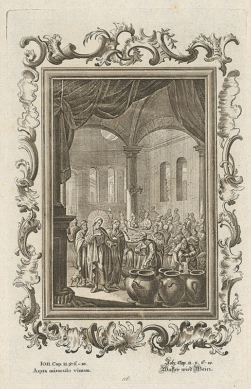Stredoeurópsky grafik z 18. storočia – Ježiš zázračne mení vodu na víno