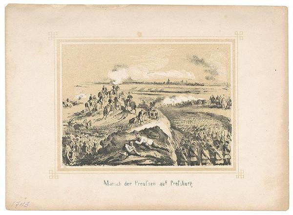 Stredoeurópsky grafik z 2. polovice 19. storočia - Pochod pruských vojakov na Bratislavu