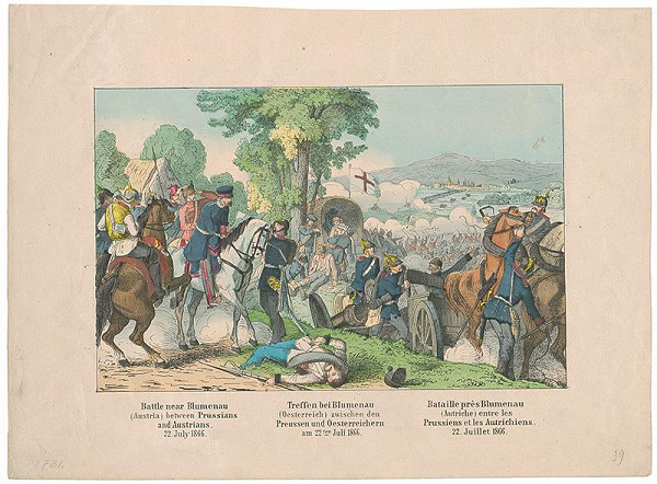 Stredoeurópsky grafik z 2. polovice 19. storočia – Boj medzi Prusmi a Rakušanmi r.1866