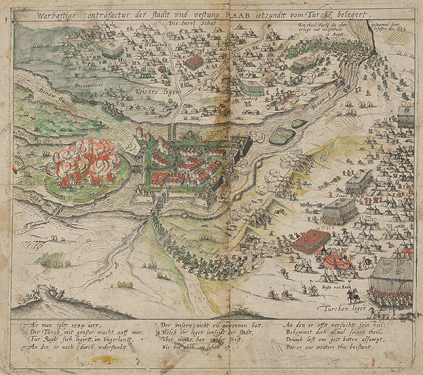 Stredoeurópsky grafik zo 16. storočia - Útok na mesto a hrad Raab tureckou armádou