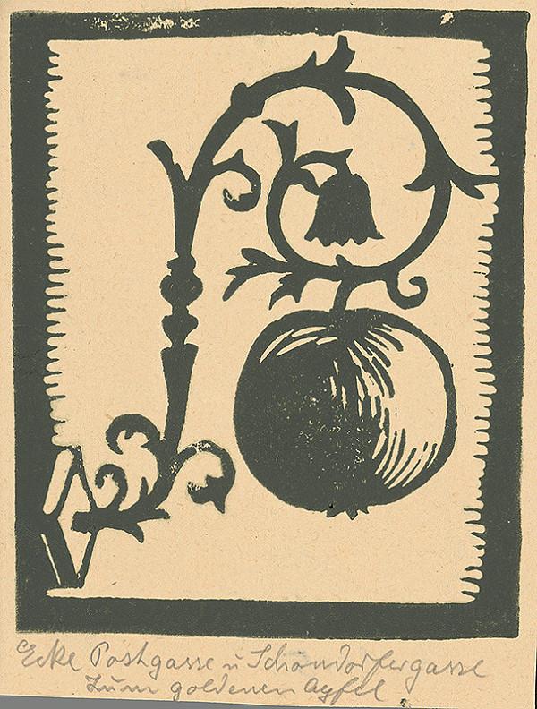 Karol Frech - Znak na rohu Poštovej a Schöndorfskej ulice v Bratislave - K zlatému jablku