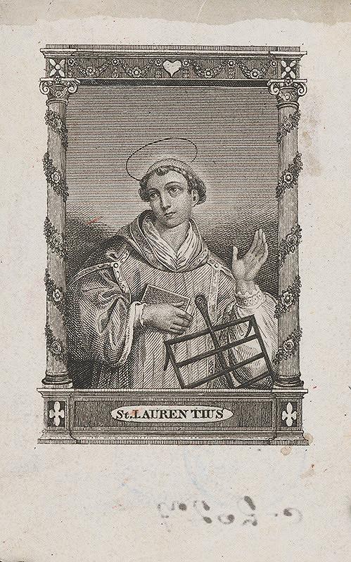 Stredoeurópsky grafik z 19. storočia – Sv. Vavrinec