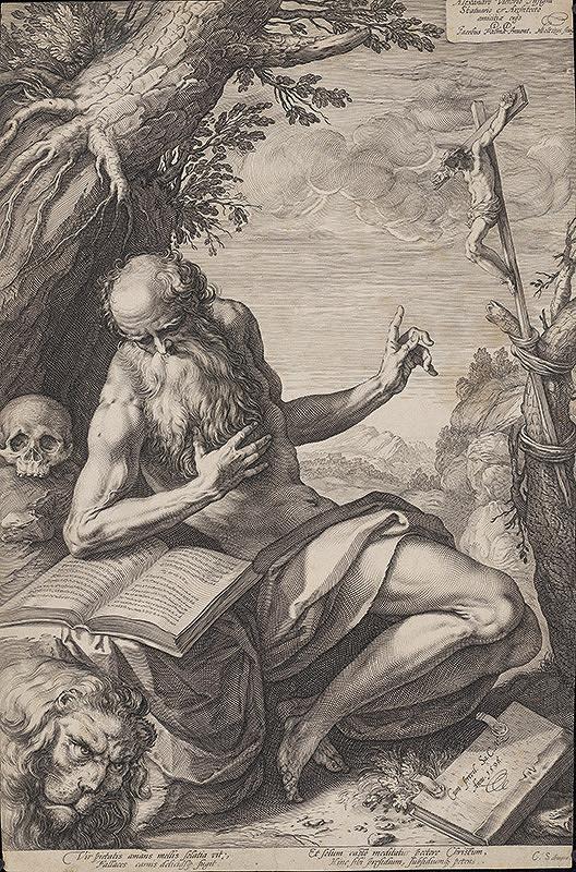 Hendrick Goltzius, Jacopo, il vecchio Palma - Svätý Hieroným na púšti