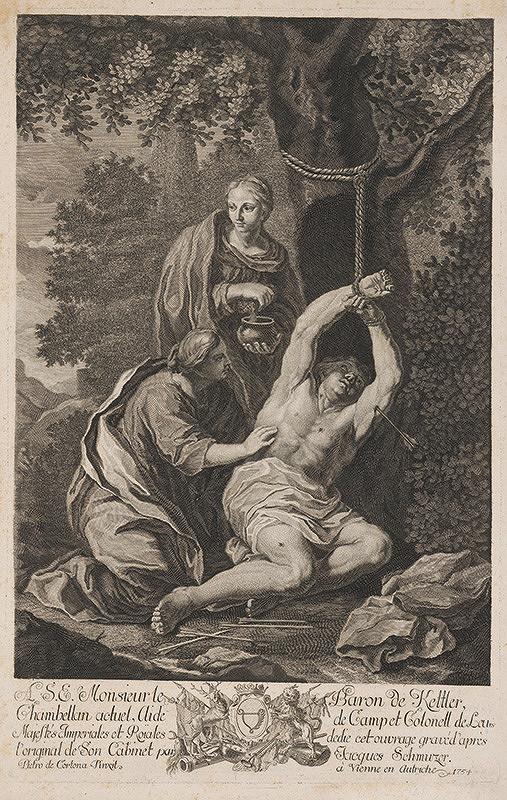 Pietro da Cortona, Jacob Matthias Schmuzer – Sv. Irena ošetruje sv. Sebastiána