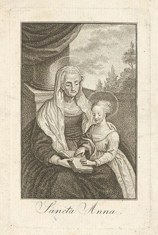 Stredoeurópsky grafik z 18. storočia – Svätá Anna vyučuje Pannu Máriu