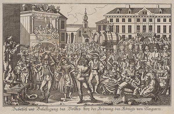 Stredoeurópsky grafik z 19. storočia - Ľudová slávnosť pri korunovácii Ferdinanda V.
