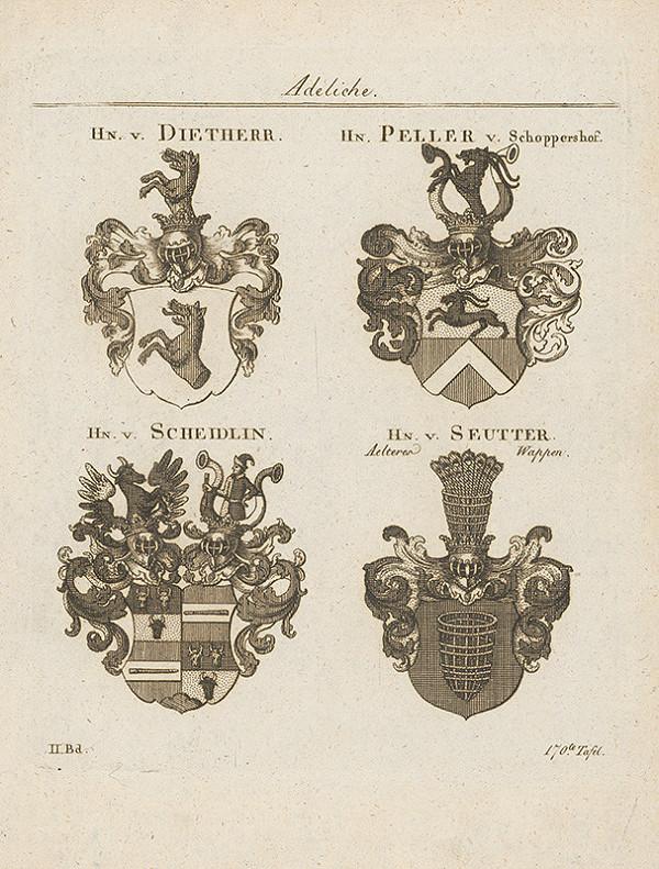 Stredoeurópsky grafik z 18. storočia – Skupina erbov