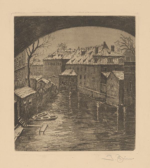 Josef Bino - Pohľad na mesto s riekou