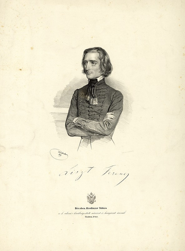Joseph Kriehuber – Portrét Franza Liszta