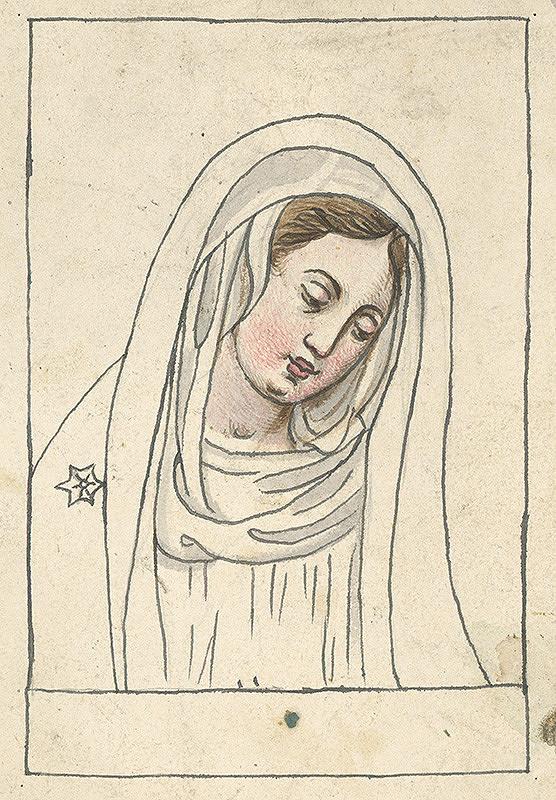 Stredoeurópsky grafik z 19. storočia - Madona so sklonenou hlavou