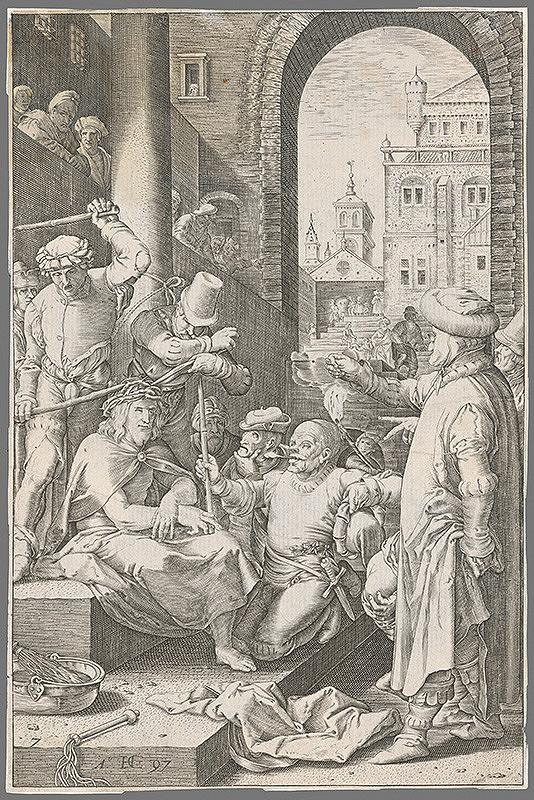Hendrick Goltzius – Tŕním korunovanie a posmievanie Krista (7)