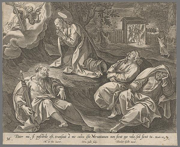 Cornelis Galle II., Maarten de Vos – Kristus sa modlí na Olivovej hore